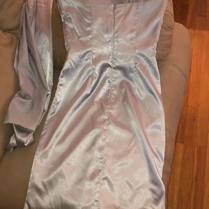 Silver satin dress- slim fitted
